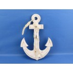 """Wooden Rustic Whitewash Anchor w/ Hook Rope and Shells 13"""""""