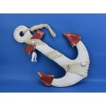 """Wooden Rustic Red/White Anchor w/ Hook Rope and Shells 18"""""""