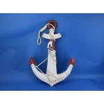 """Wooden Rustic Red/White Anchor w/ Hook Rope and Shells 24"""""""