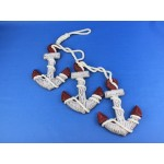 """Wooden Rustic Triple Anchor Set 7"""" - Red"""