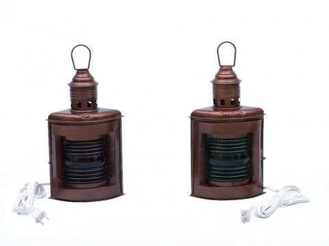 """Antique Copper Port and Starboard Electric Lamp 12"""""""