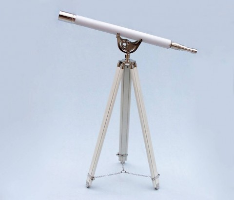 """Floor Standing Chrome With White Leather Anchormaster Telescope 65"""""""