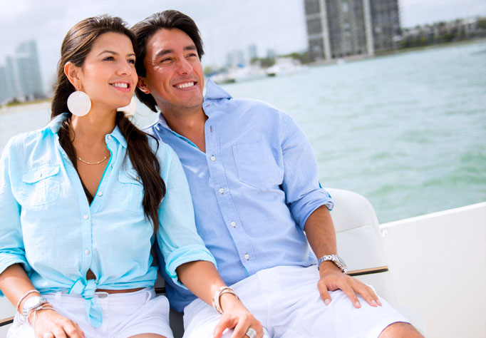 Couple enjoying boat ride