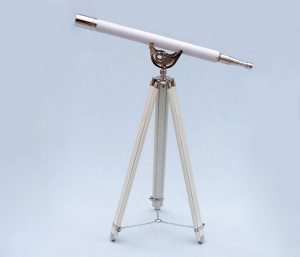 Floor Standing Chrome With White Leather Anchormaster Telescope 65""
