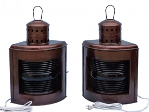 """Antique Copper Port and Starboard Electric Lamp 21"""""""